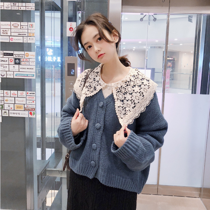 Versatile Solid Color V-neck Single Breasted Sweater By Age Lace Peter Pan Collar Shirt (High Quality)