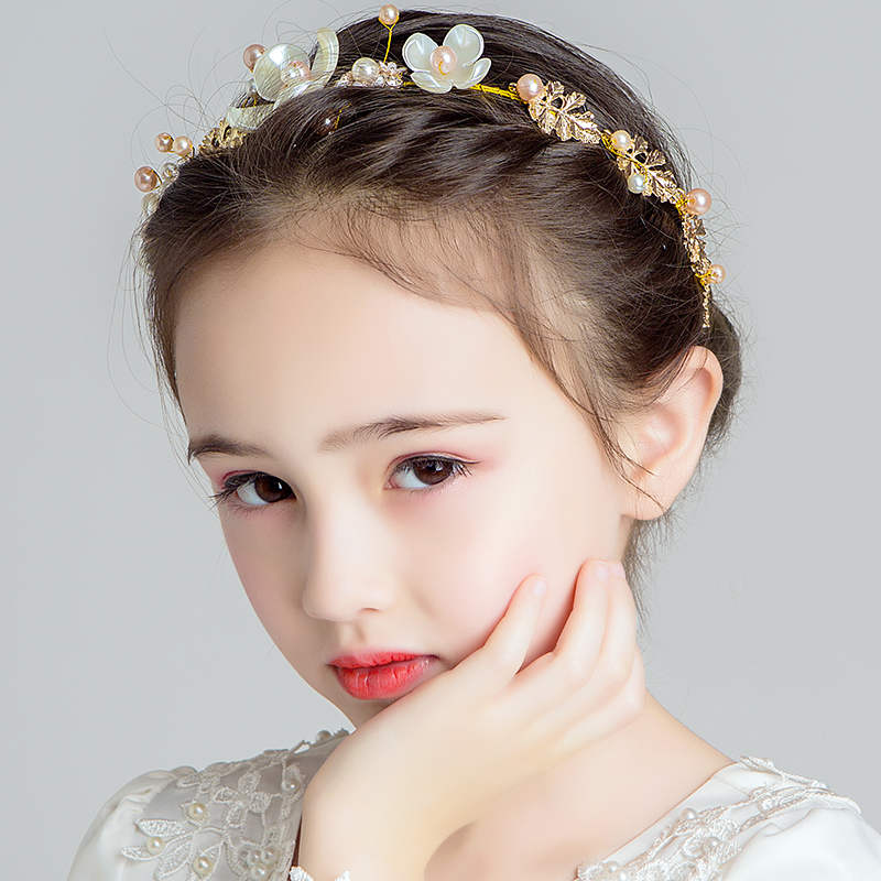 HIMSTORY Girls Vintage Gold Leaves Handmade 3D Flowers Headband Hairband Wedding Prom Bridalmaid Kids Headdress Accessories in Hair Jewelry from Jewelry Accessories