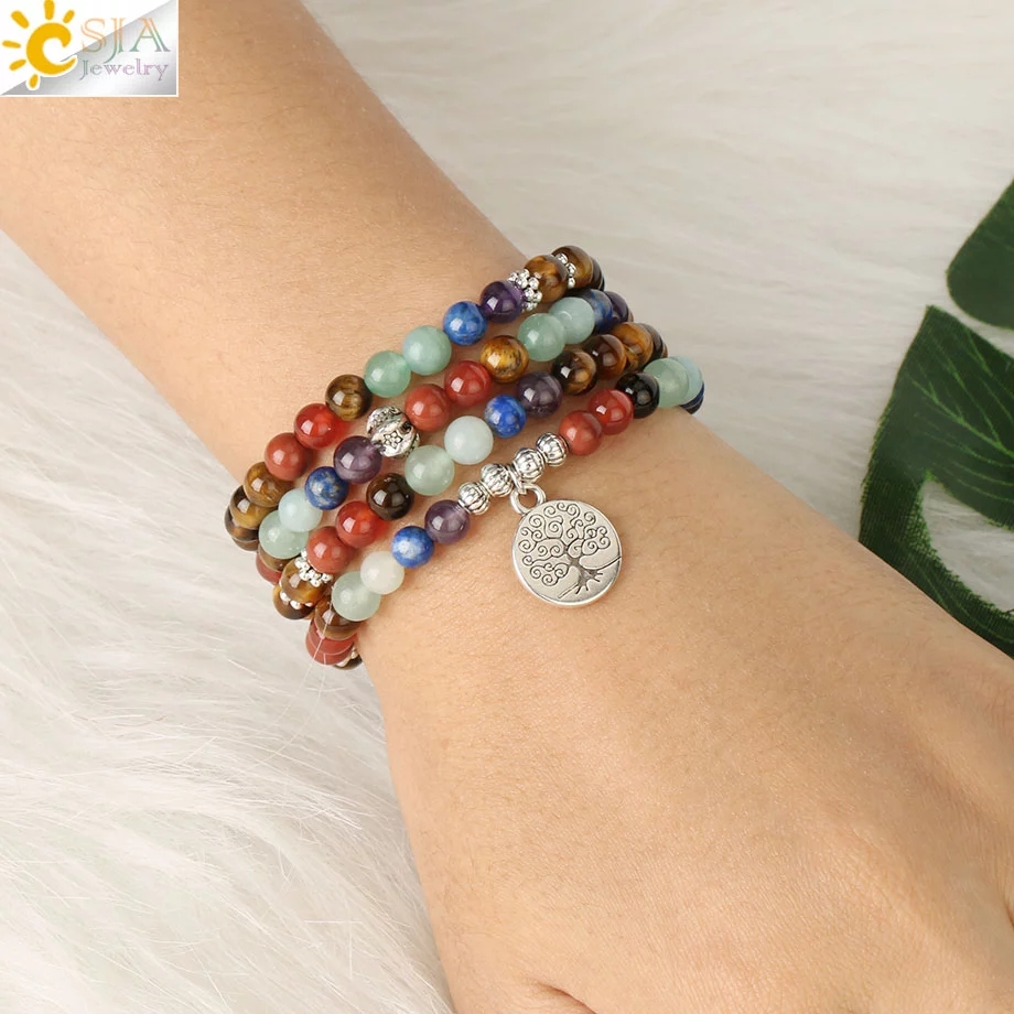 CSJA — Bracelets œil de tigre des 7 chakras pour femmes, bijou bouddhiste et tibétain avec pierre naturelle, mala yoga, 108 perles, 6 mm, S558