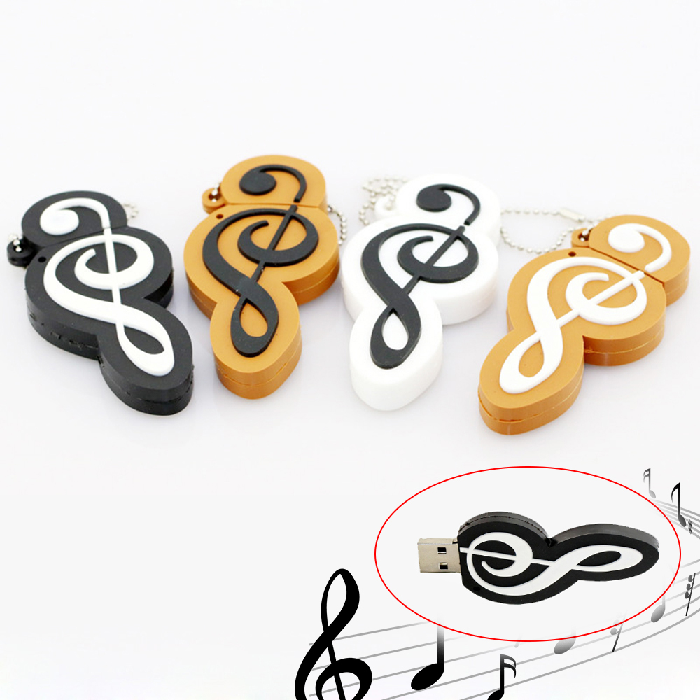 32GB Usb Flash Drive Silicone Musical Note 64GB 128GB 256 4 16 8 Gb Pen Drive Music Instruments Gift Cle USB Key Memory Pendrive
