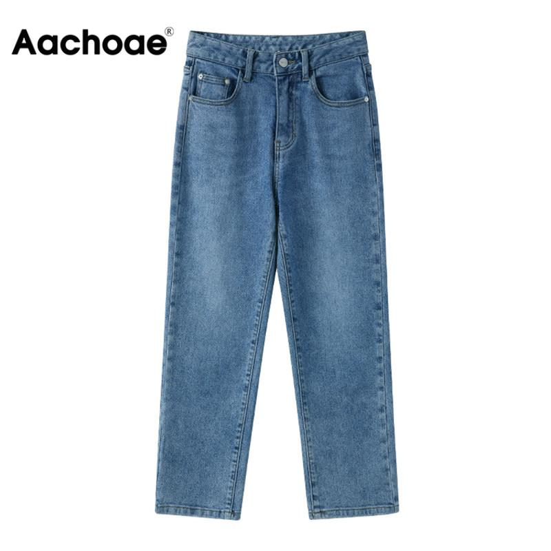 Women Jeans High Waisted Denim Pants 2020  Casual Solid Ankle Length Straight Pants Harajuku Simple Streetwear Trousers