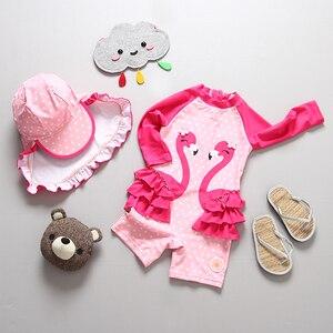 Image 2 - طفل فتاة ملابس السباحة UPF50 قطعة واحدة طويلة الأكمام UV الفتيات ملابس السباحة الأناناس فلامنغو ملابس حمام الطفل لباس سباحة للأطفال