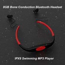 Lecteur MP3 sans fil Bluetooth, 8 go, étanche IPX8, pour plongée, natation, surf, Radio FM, casque d'écoute, lecteur de musique
