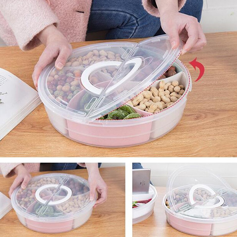 Portable Snack Candy Tray Multi-functional Five-divided Fruit Box Pink Tray Nut And Candy Snack Service Round Tray 31x7.5CM title=