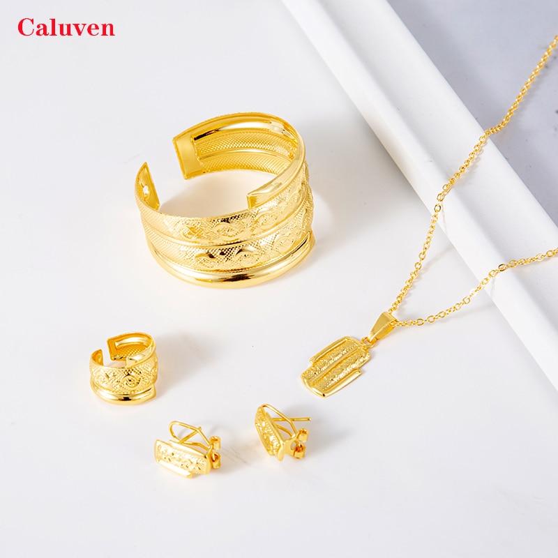 Детские Кольца, комплекты сережек, свадебные украшения, золотой цвет, африканские браслеты для маленьких девочек, ювелирные изделия, элегантное женское вечернее платье, именное ожерелье on AliExpress
