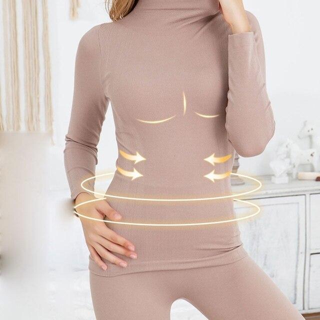 Mode chaud hiver sous-vêtement thermique shapewear femmes longs johns ensemble vêtements dhiver vêtements dintérieur pour femmes ensemble de lingerie thermique sommeil tops vetement femme hiver 2021