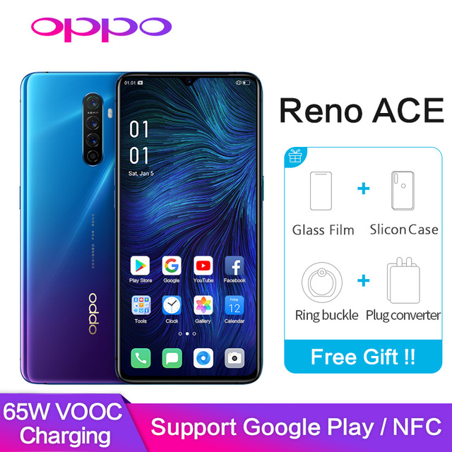 OPPO Reno Ace Support Google Play NFC Global ROM OTG Type C 8GB 128GB 48.0MP 65W Super VOOC 90HZ GPS WIFI Mobile Smart Phone
