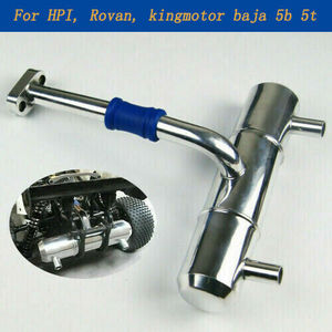 Двойные отверстия Глушитель выхлопная труба алюминий для RC автомобиля 1:5 HPI rovan Baja 5B 5T King части двигателя