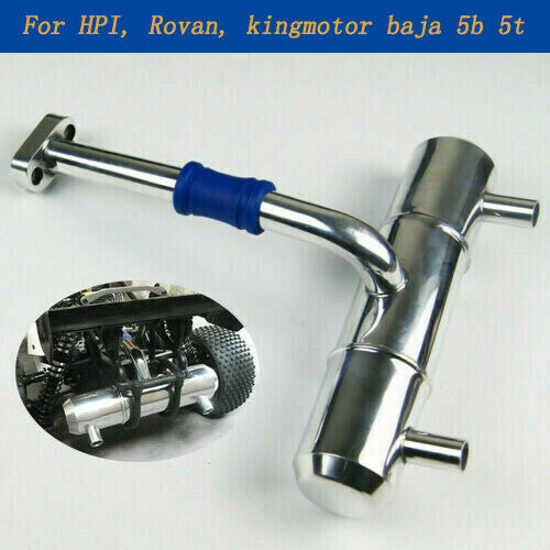 Double-hole Muffler Exhaust Pipe Aluminium For RC Car 1:5 HPI Rovan Baja 5B 5T King Motor Parts