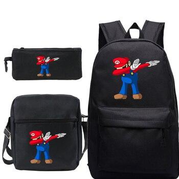 Mochila 3 unids/set de Super Mario Dab, Mochila de hombro, estuche de lápices, mochilas escolares para chicas adolescentes, Mochila para portátil de viaje