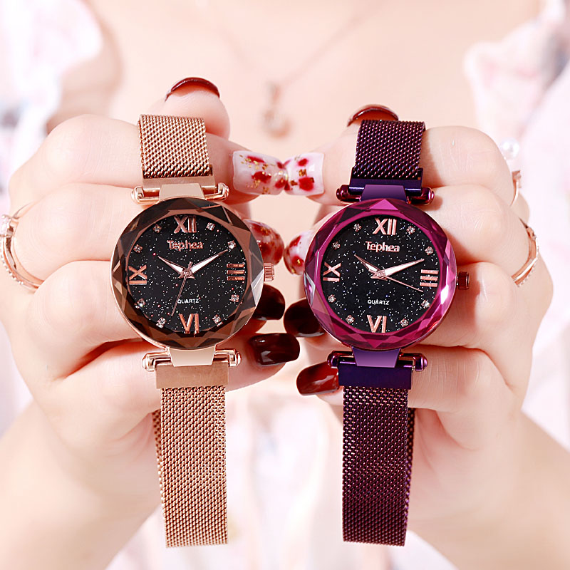 Women Dress Watch 2019 Starry Sky Ladies Wrist Watch Quartz Clock Luxury Magnetic Mesh Female Clock Relogio Feminino For Gift