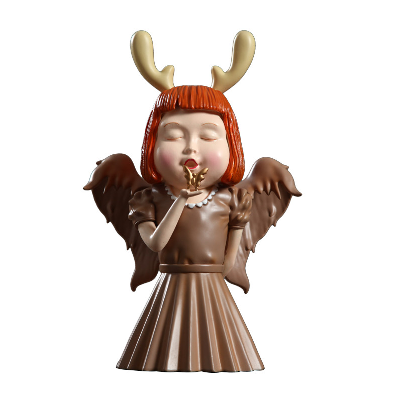 Nordic Style Little Angel Girls Arts Sculpture Cute Girl Statue Resin Art&Craft Desktop Creative Figurines Home Decorate R2783