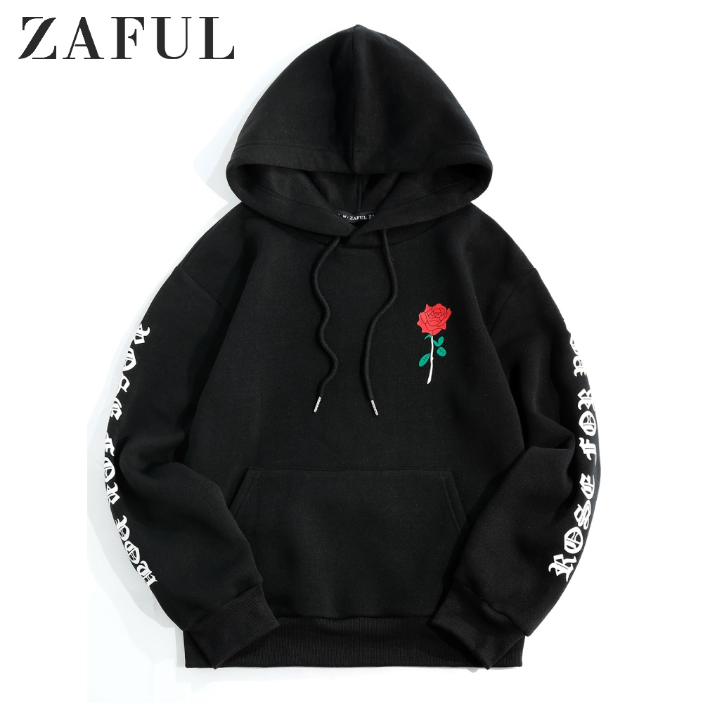 ZAFUL Letter Rose Print Drop Shoulder Front Pocket Hoodie Autumn Warm Graphic Kangaroo Hoodie Hooded Women'S Sweatshirts Hoodies