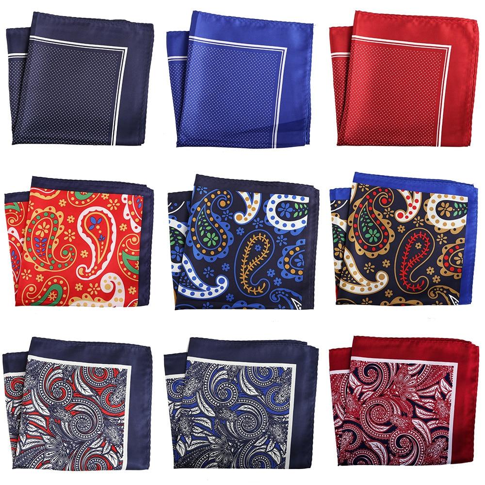 YISHLINE Large 32CM Unisex Handkerchief Paisley Floral Plaids Prints Soft Thin Pocket Square For Men Women Party Accessories