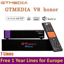 1 Year Channel Europe HD 1080p Satellite Receiver GTMEDIA V8 Honor DVB-S/S2 Built-in 2.4G WIFI Module Satellite Receptor Decoder free shipping factory latest version dm 800hd se s sim2 10 wifi sunray 800se 800hd se dvb s2 satellite receiver linux