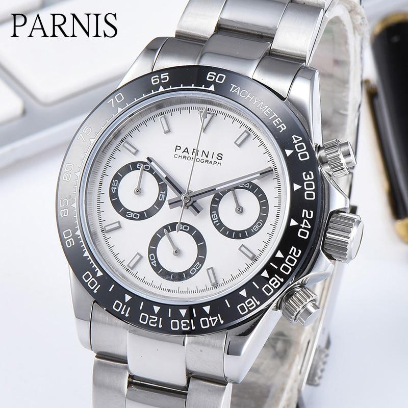 Parnis Brand Luxury 39mm Quartz VK64 Chronograph Watch Men Pilot Sport Luminous Waterproof Sapphire Crystal Wristwatch Men