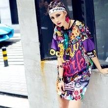 Femmes d'été T-shirt Mode Hip Hop Grande Taille T-shirt Eam Robe Graffiti Femme T-shirts T-shirt Graphique Harajuku Haut Pour Femme