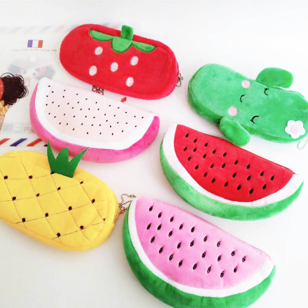 Cute Fruit Watermelon Cactus Plush Pencil Case Cosmetic Bag Pen Box For Girls Gift Stationery Pouch School Office Supplies