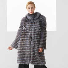 Winter Coat Women New Fashion Luxury Gray Color Long Elegant Warm Real Fox Fur Covered Jackets Womens Clothing Plus Size