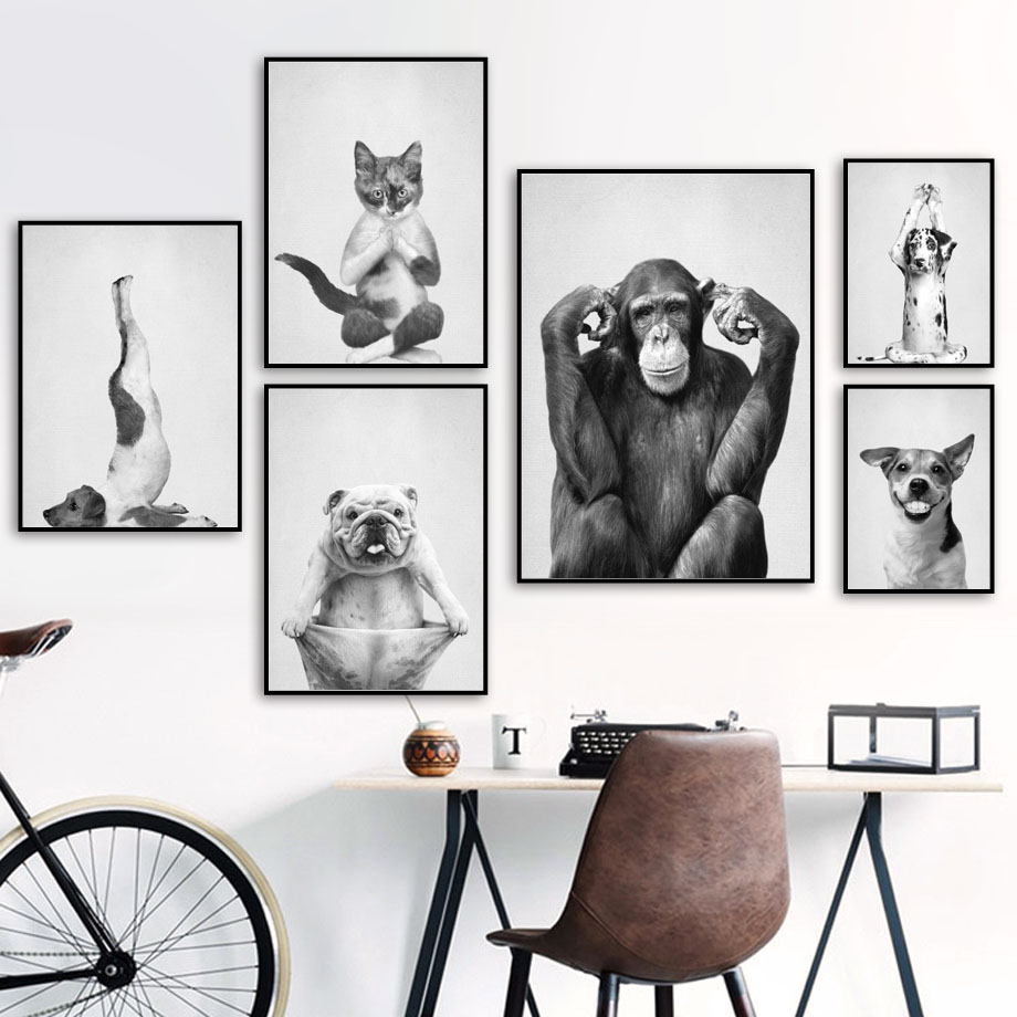 Dancing Yoga Cat Dog Monkey Wall Art Canvas Painting Black White Nordic Posters And Prints Wall Pictures For Living Room Decor image