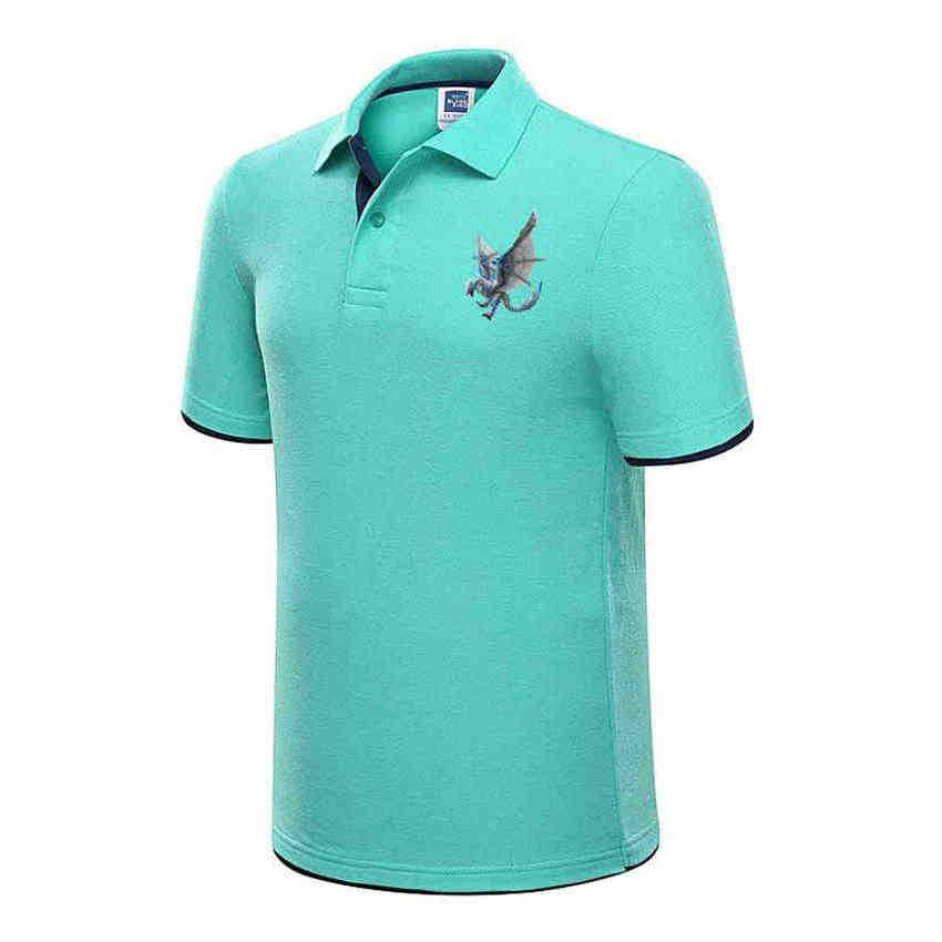 High Quality Tops Men Polo Shirts Business Plus Size Polo Shirts Pure Blue Dragon Print Lapel Soft Men Short Sleeves Polo Shirt