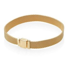Neue Original 925 Sterling Silber Armband Gold Farbe Glanz Woven Mesh Reflexions Armreif Fit Frauen Bead Charm Fashion Schmuck(China)