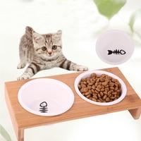 Pet Ceramic Bowl Dog Bowl Cat Bowl Pet Food Bowl Drinking Bowl Non-slip Wooden Frame Round Ceramic Single Bowl Double Bowl