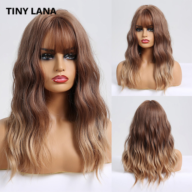 TINY LANA Long Wave Women Wigs with Bangs Ombre Brown Blonde High Temperature Fiber Synthetic Wigs for Black White Women Cosplay