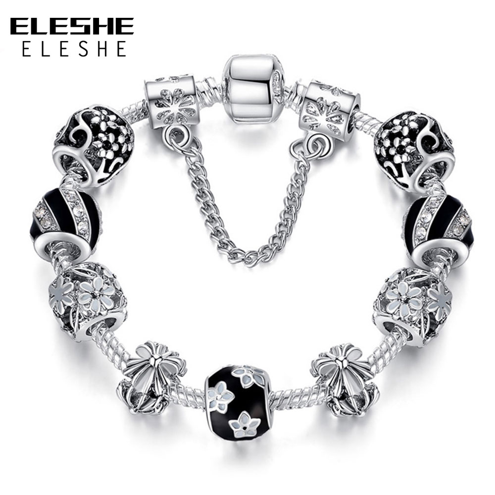 ELESHE Silver Color Crystal Enamel Beads Charm Bracelet For Women With Safety Chain Strand Bracelet Bangle Mother's Day Gift