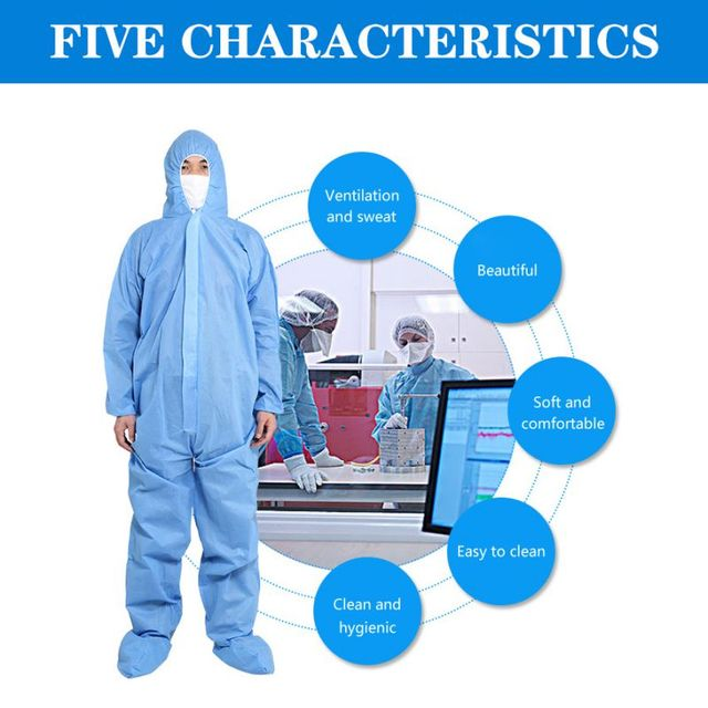 PPE Suit Disposable Full Body Protective Suit Antibacterial Closures Isolation Suit Protective Clothing Coveralls Waterproof 2