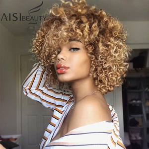 AISIBEAUTY Wigs for Black Women Synthetic Kinky Curly Wigs 14 inches Short Black Natural Afro Hair for Black Women 4colors(China)