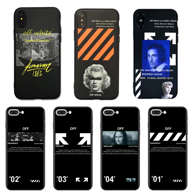 Twill <font><b>Off</b></font> Ow Stripes Silicone Phone <font><b>Case</b></font> fundas For <font><b>iPhone</b></font> 8 7 <font><b>6</b></font> 6S Plus soft TPU For <font><b>iPhone</b></font> X XR XS Max <font><b>white</b></font> coque Back Cover image