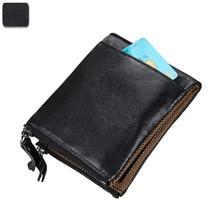 RFID Small Female Purse Genuine Leather Short Purse Zipper & Hasp Short Clutch Wallet Vintage Top Layer Cowskin Women Wallet