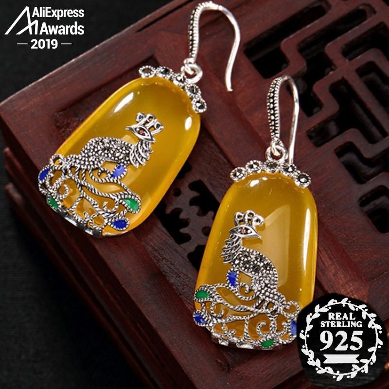 Noir vendredi S925 bijoux fins boucles d'oreilles 925 en argent Sterling Artisan baltique rétro exquis Semi pierre gemme goutte d'eau ambre israélien