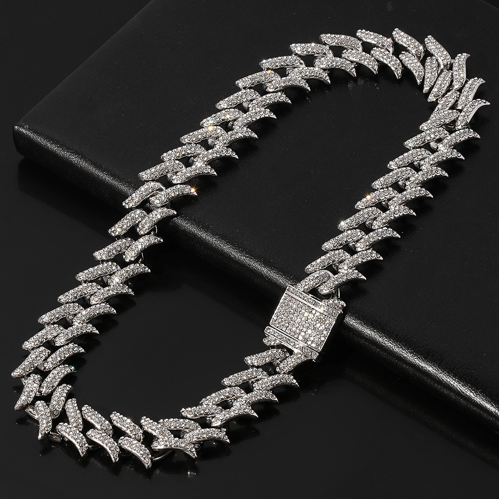 Men Hip Hop Iced Out Bling Full Pave Rhinestones Chain Necklace Hip hop for Unisex Jewelry