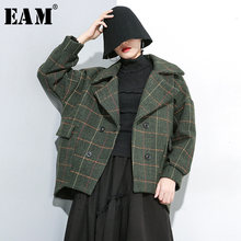 [EAM] Losse Fit Green Plaid Split Joint Big Size Korte Wollen Jas Parka Nieuwe Lange Mouw Vrouwen Mode herfst Winter 2019 1H134(China)