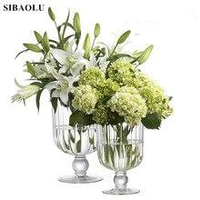 Ins Transparent Glass  Vase European Style Creative High Foot Vase Table Flower Arrangement Large Caliber Hydroponic Flower Vase 10 e kayfun flower vase atomizer