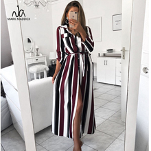 2019 Office Lady Turn-Down Collar Button Lace Up Long Shirt Dress Women Autumn Spring Long Sleeve Stripe Maxi Dresses women striped long shirt dress turn down collar button dress autumn spring long sleeve stripe maxi dresses loose vestidos