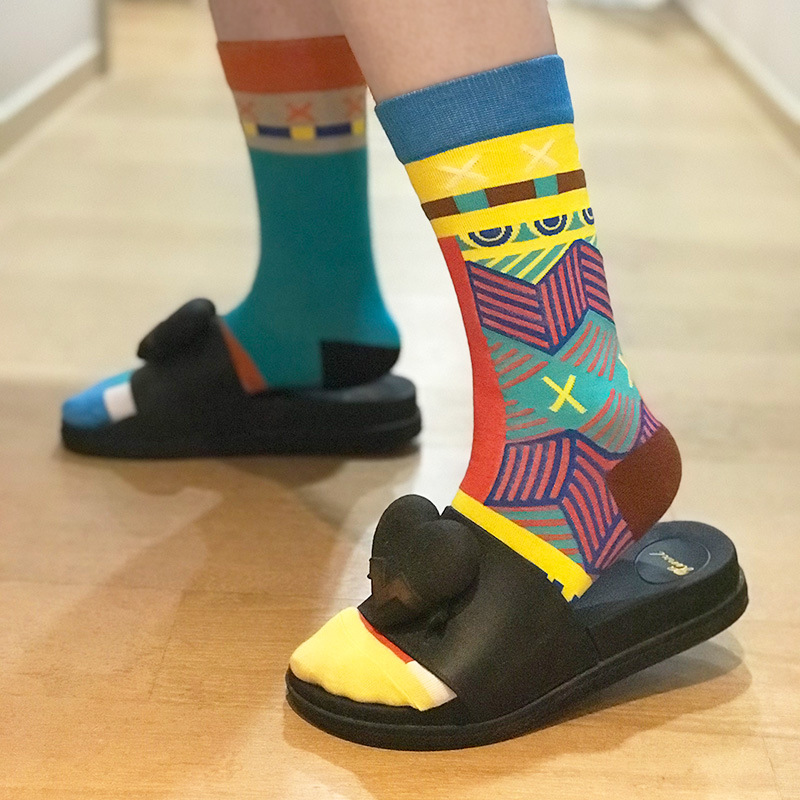 New Style Unisex Funny Socks Left Right Different Pattern Star House Key Stripe Men Socks Women Harajuku Street Wear Fashion