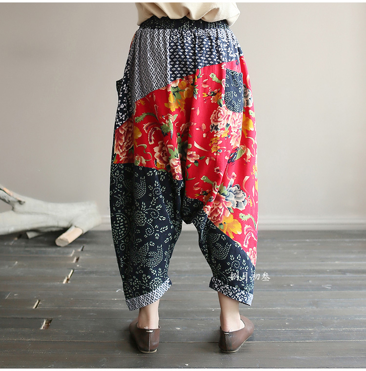 Original folk style women's retro stitching old cotton and linen material shift pants women loose large size baggy pants 45