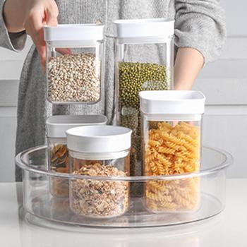 Refrigerator Turntable Storage Bin Kitchen Spice Bottle Container Organizer image