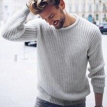 Осенне-зимние мужские хлопковые свитера, мужские пуловеры с длинным рукавом, топы с круглым вырезом, вязаный джемпер в Корейском стиле, вязаная одежда плюс