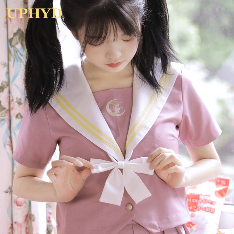 Lovely Pink School Girl Uniform Preppy Style Anime Cosplay Sailor Suits Chorus Performance Student Uniforms