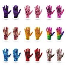 Модные зимние теплые перчатки для пар женские розовые вязаные