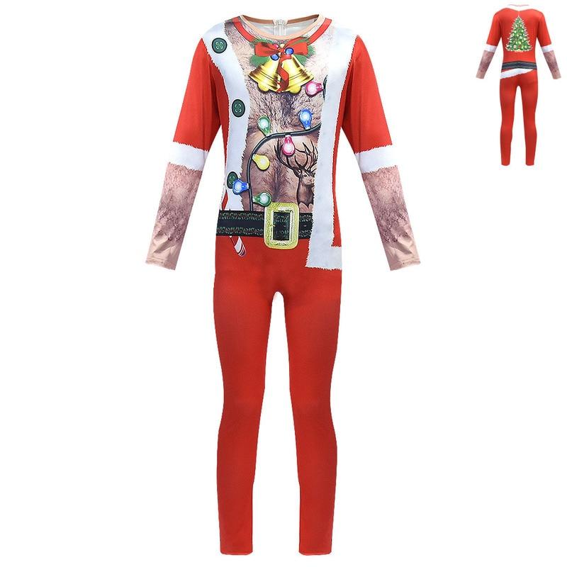 New Children Santa Boy Christmas Costume 5 Pcs Suit Xmas Dress Fancy 4-12 Years