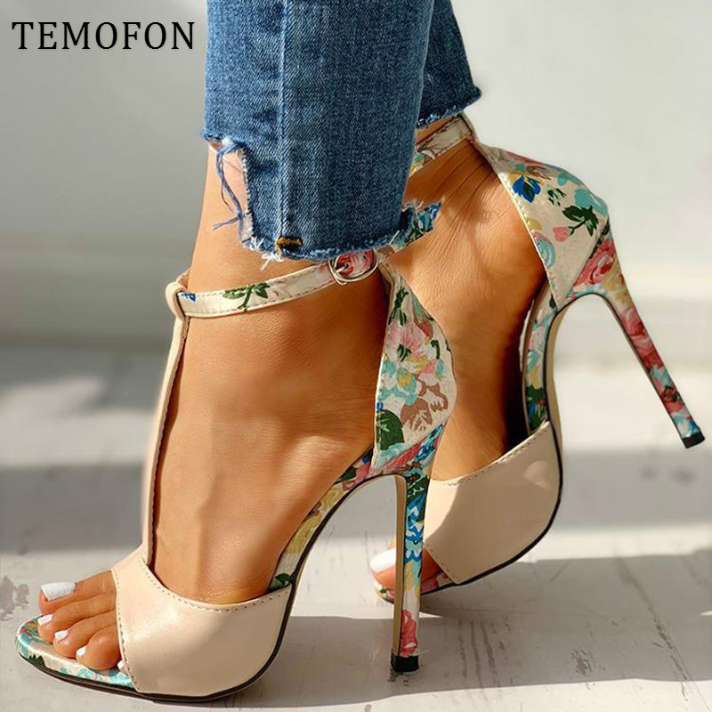 TEMOFON Sexy Women High Heels With Ankle Strap Peep Toe Pumps Ladies High Heels Sandals 2020 Summer Shoes Tacones Mujer HVT1039
