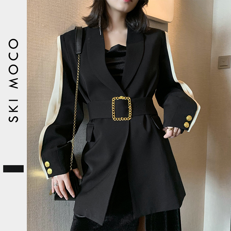 11.11Women Blazer Feminino Metal Gold Buckle Belt Black Blazers Femme Fashion Ladies Jacket Coat Outwear Mujer 2019 High Quality
