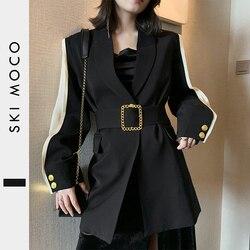 11.11Women Blazer Feminino Metal Gold Buckle Belt Black Blazers Femme Fashion Ladies Jacket Coat Outwear Mujer 2019 High Quality