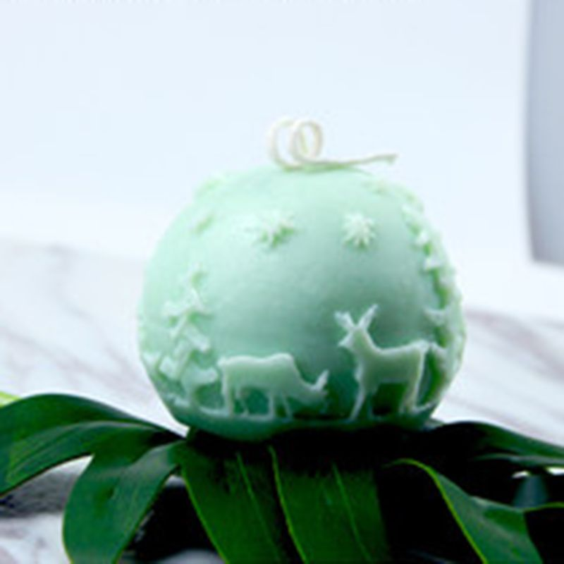 3D Рождество олень мяч Силиконовые свечи мыло Плесень DIY помадка испечь плесень 72XF