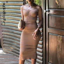 Cryptographic Slit Bodycon Dress Women 2019 Sexy Slash Neck Backless Ruched Dresses Long Sleeve Fashion Midi Autumn New